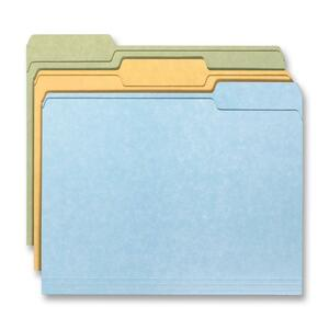 "Smead Top Tab File Folder - Letter - 8.5"" x 11"" - 1/3 Tab Cut - 18 / Pack - 11pt. - Brown, Green, Blue"