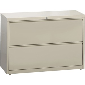 "Lorell 60438 Lateral File - 42"" x 18.62"" x 28"" - 2 Drawer(s) - Legal, Letter, A4 - Rustproof, Leveling Glide, Ball-bearing Suspension, Interlocking - Putty"