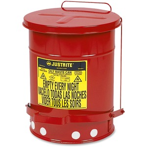 "Justrite Oily Waste Can - 6gal Capacity - Round - 16"" Height - 11.87"" Diameter - Steel"