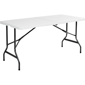 "Iceberg IndestrucTable TOO 1200 Series Bi-Folding Table - Rectangle60"" x 29"" x 2"" - Steel, Polyethylene - Platinum, Charcoal Gray Leg"