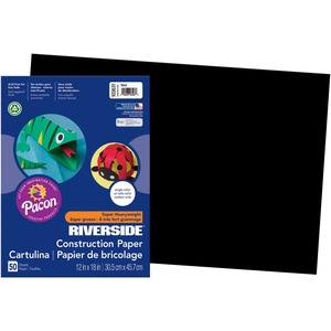 "Riverside Groundwood Construction Paper - 12"" x 18"" - Black"