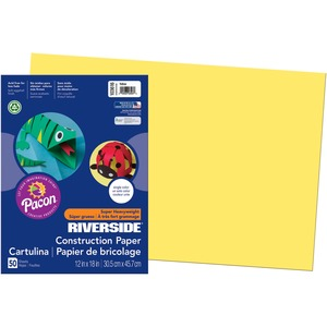 "Riverside Groundwood Construction Paper - 12"" x 18"" - Yellow"