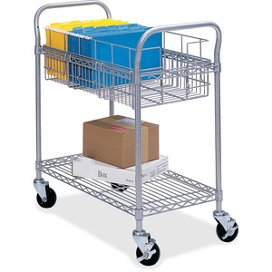 "Safco Wire Mail Cart - 600 lb Capacity - 4 x 4"" Caster - Steel - 27"" x 18.75"" x 38.5"" - Gray"