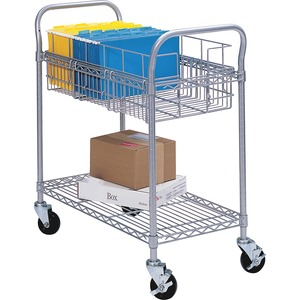 "Safco Wire Mail Cart - 600 lb Capacity - 4 x 4"" Caster - Steel - 39"" x 18.75"" x 38.5"" - Gray"