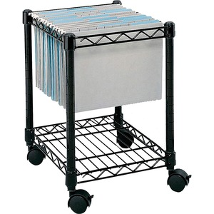 "Safco Compact Mobile File Cart - 1 Shelf - 4 - Steel - 15.5"" x 14"" x 19.5"" - Black"