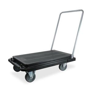 "Deflect-o Platform Hand Truck - Folding Handle - 500 lb Capacity - 4 x 5"" Caster - Steel - Black"