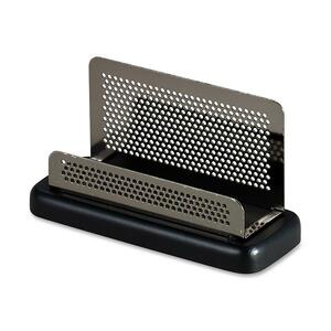 "Rolodex Distinctions Pewter Business Card Holder - 6.35"" x 4.75"" x 4.76"" - Wood, Steel - Black, Gunmetal"