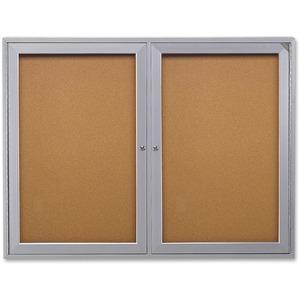 2-Door Enclosed Indoor Bulletin Board