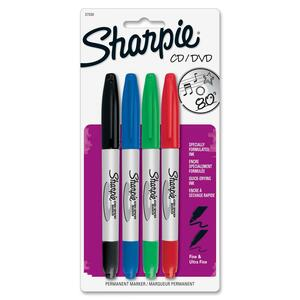 Sharpie Permanent CD/DVD Marker - Point Marker Point Style - Black Ink, Blue Ink, Green Ink, Red Ink - 4 / Pack