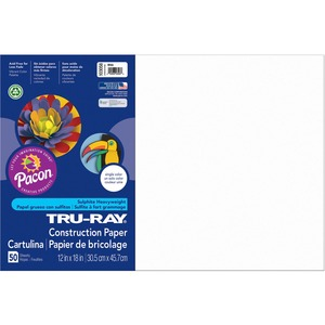 "Tru-Ray Construction Paper - 18"" x 12"" - White"