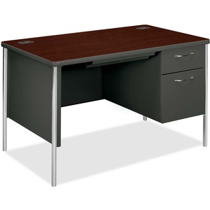 "HON Mentor Series Pedestal Desk - 48"" Width x 30"" Depth x 29.5"" Height - 1 Drawer - Single Pedestal on Right Side - Radius Edge - Mahogany"