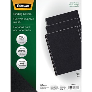 Fellowes Linen Presentation Covers - Letter, Black, 200 pack - TAA Compliant FEL5217001