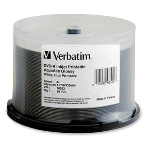 Verbatim 96552 DVD Recordable Media - DVD-R - 8x - 4.70 GB - 50 Pack Spindle VER96552