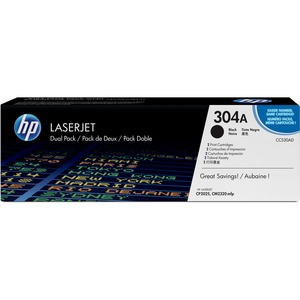 HP 304A 2-pack Black Original LaserJet Toner Cartridges HEWCC530AD