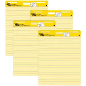 "Post-it Self-Stick Easel Pad - 30 Sheet(s) - Ruled - 25"" x 30.5"" - 4 / Carton - Yellow"