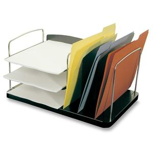 "Buddy Desk Tray - 8.25"" x 16.25"" x 11"" - 6 Pocket(s) - Steel, Plastic - Charcoal"