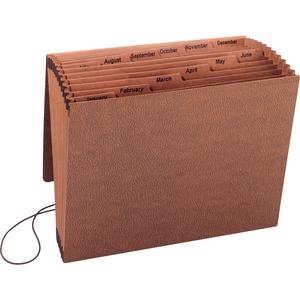 "Sparco Jan-Dec Accordion File - 8.5"" x 11"" - Letter - 1 Each - Brown"