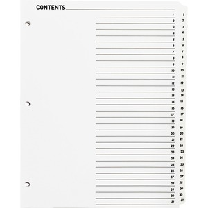 Table of Contents Index Divider