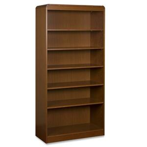 "Lorell Six Shelf Bookcase - 36"" Width x 12"" Depth x 72"" Height - Radius Edge - Wood - Cherry"