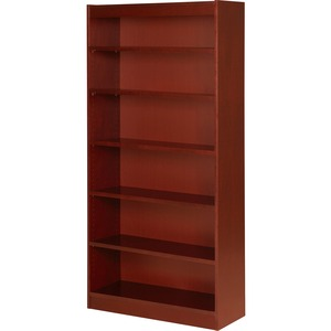 "Lorell Six Shelf Panel Bookcase - 36"" Width x 12"" Depth x 72"" Height - Wood - Cherry"
