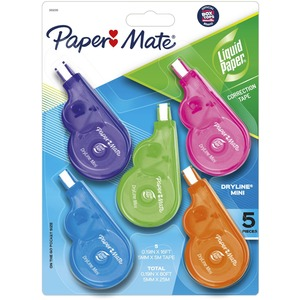 "Paper Mate DryLine Mini Correction Tape - 0.2"" Width x 197"" Length - White Tape - Ergonomic Dispenser - 5 / Pack - Purple, Green, Pink, Orange, Blue Dispenser, Dispenser, Dispenser, Dispenser, Dispenser"