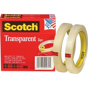 "Scotch Glossy Transparent Tape - 0.5"" Width x 2592"" Length - 3"" Core - Moisture Resistant, Photo-safe, Stain Resistant, Non-yellowing - 2 / Pack - Clear"