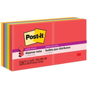 "Post-it Super Sticky Pop-up Note Refill - Self-adhesive - 3"" x 3"" - Assorted - Paper - 10 / Pack"