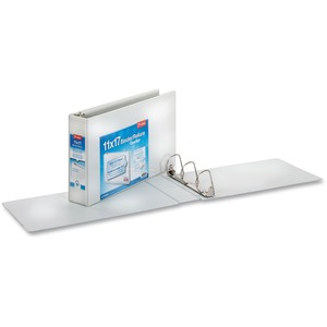 "Cardinal ClearVue D-Ring Binder - 11"" x 17"" - 3"" Capacity - 1 Each - White"