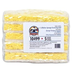 "Genuine Joe Light-duty Sponge - 6.25"" x 3.25"" - 5 / Pack - Cellulose - Yellow, White"