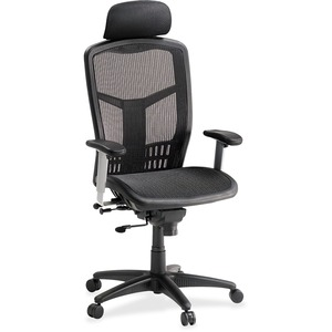 Lorell Ergomesh Series High-back Mesh Chair - Mesh Black Seat - Mesh Back - Plastic, Steel Frame - Black - 28.5 Width X 28.5 Depth X 51 Height