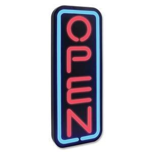 "U.S. Stamp & Sign Lighted Open Sign - ""Open"" Preset - 9.5"" x 23.5"" - Polymer - Black"