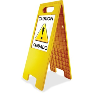"U.S. Stamp & Sign Double Sided Floor Tent Sign - ""Customizable - 10.5"" x 25.5"" - Plastic - Yellow"