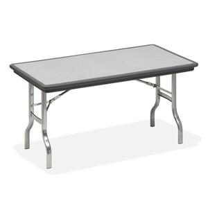 "Iceberg IndestrucTable Folding Table - Rectangle - 60"" x 30"" x 29"" - Polyethylene - Chrome, Charcoal Leg"