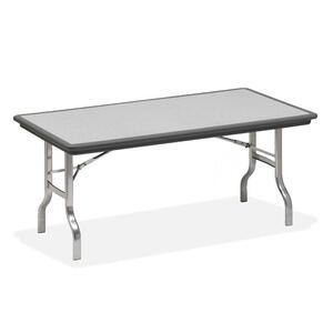 "Iceberg IndestrucTable Folding Table - Rectangle - 72"" x 30"" x 29"" - Polyethylene - Chrome, Charcoal Leg"