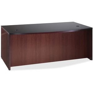 "Lorell 87800 D-Shaped Bowfront Desk - 72"" Width x 42"" Depth x 29"" Height - Fluted Edge - Mahogany"