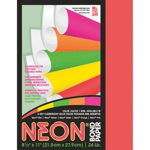 "Pacon Neon Bond Paper - Letter - 8.5"" x 11"" - 24lb - 100 / Pack - Red"