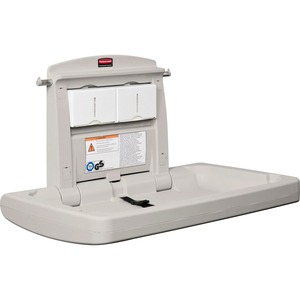 "Rubbermaid Horizontal Changing Station with Adjustable Safety Belt x 21.5"" - Platinum, White"
