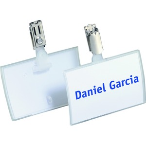 "Durable Click-Fold Convex Name Badge with Strap Clip - 2.93"" x 3.75"" x 0.25"" - Polypropylene - 25 / Pack - Clear"