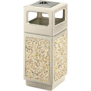 "Safco Canmeleon 9470 Waste Receptacle Ash/Urn Side Open - 15gal Capacity - Square - 33"" Height x 13.75"" Width x 13.75"" Depth - Plastic, Stone, Stainless Steel - Tan"