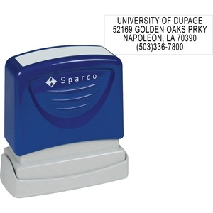 "Sparco Return Address Stamp - 0.5"" x 1.62"" - Blue"