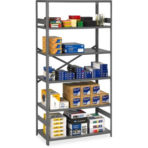 "Tennsco Commercial Shelf - 36"" x 18"" x 75"" - Steel - 6 x Shelf(ves) - Medium Gray"