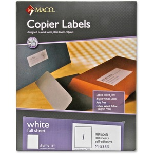 Maco M-5353 Self-Adhesive Full Sheet Copier Labels MACM5353