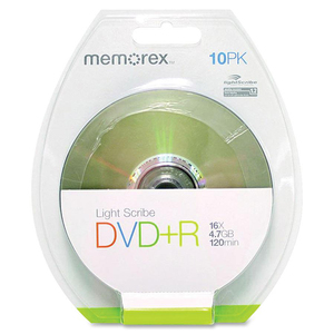 Memorex DVD Recordable Media - DVD+R - 16x - 4.70 GB - 10 Pack Blister Pack (Price Per Pack) 05527