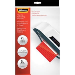 Fellowes Glossy Pouches - File Card, 5 mil, 25 pack FEL52008