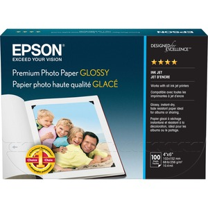"Epson Premium Photo Paper - 4"" x 6"" - 252g/m² - High Gloss - 92 ISO Brightness - 100 / Pack - Bright White"