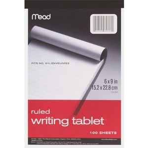 "Mead Top-bound Writing Tablet - 100 Sheet(s) - 20lb - Ruled - 6"" x 9"" - 1 Each - White"