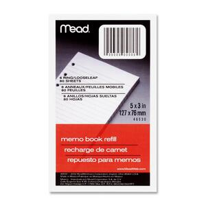 "Mead Memo Book Refill Paper - 80 Sheet(s) - Narrow Ruled - 3"" x 5"" - 1 Each - White"