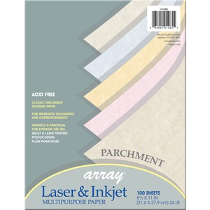 "Pacon Array Parchment Bond Paper - Letter - 8.5"" x 11"" - 24lb - 100 / Pack - Tan, Gold, Pink, Blue, Natural"
