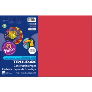 "Tru-Ray Construction Paper - 12"" x 18"" - Holiday Red"