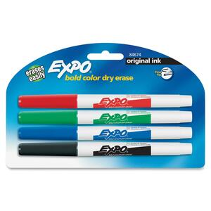 Expo Dry Erase Marker - Point Marker Point Style - Red Ink, Black Ink, Blue Ink, Green Ink - 4 / Pack